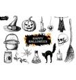 hand drawn Halloween set Vintage vector image