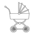baby carriage wheel decoration outline vector image