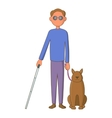 Blind man with guide dog icon cartoon style vector image