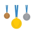 Gold Silver Bronze medal Set of medal icons vector image
