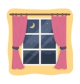 Night out the window icon in cartoon style vector image