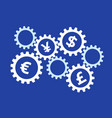 rotating gears with currency symbols on blue vector image