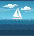 sea white sailboat on small waves vector image