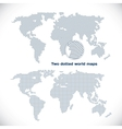 Two dotted world maps vector image