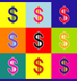united states dollar sign pop-art style vector image
