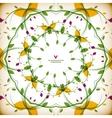 vintage round floral autumn card vector image