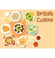 British cuisine traditional breakfast dishes icon vector image