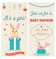 baby shower double invitation card with cute bunny vector image