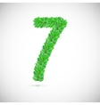 Number seven made up of green leaves vector image