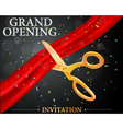 Grand opening card with red ribbon and gold scisso vector image
