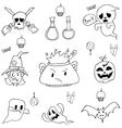 Hand draw Halloween in doodle vector image