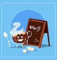 cartoon coffee cup happy smiling face people emoji vector image