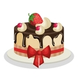 delicious sweet cake birthday vector image