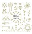 Design element set outline line art shapes vector image
