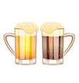 two glasses with beer vector image