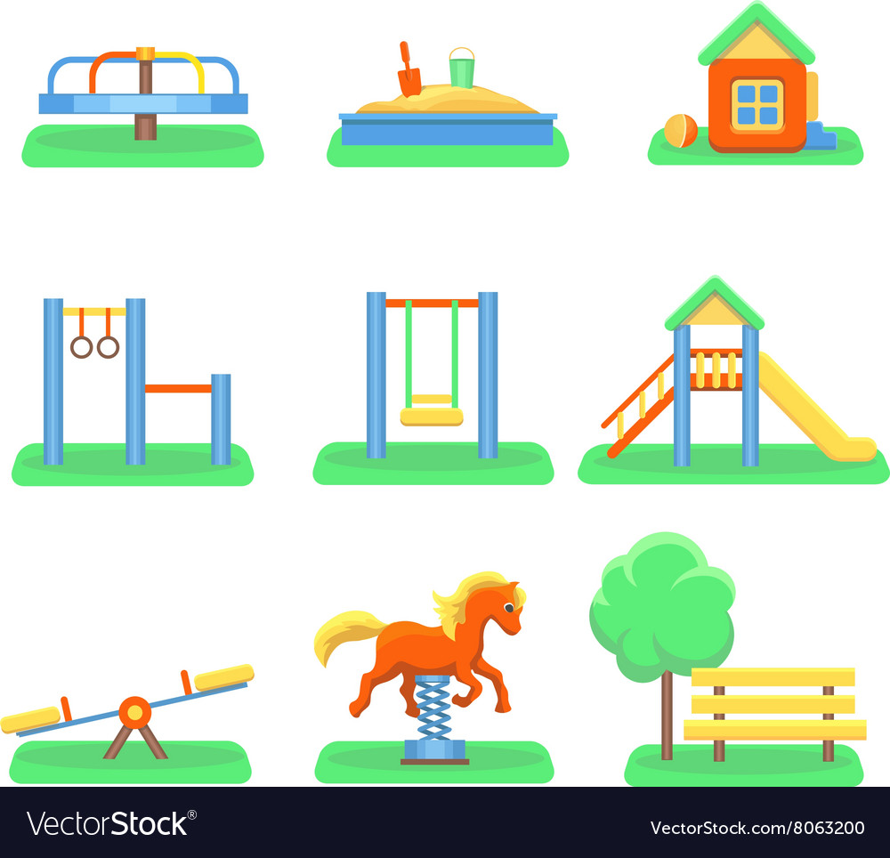 Kids playground set icons with kids swings and vector