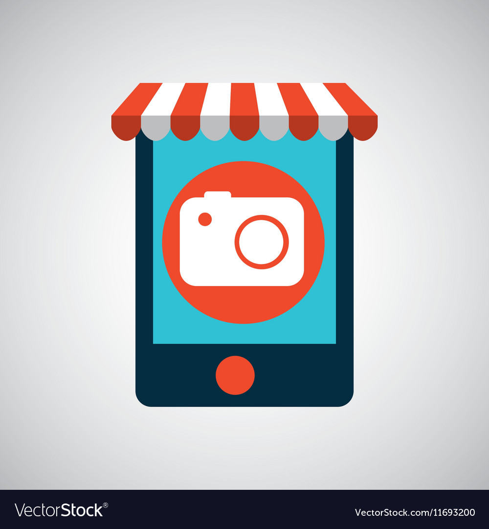 Mobile phone ecommerce and photographic camera vector