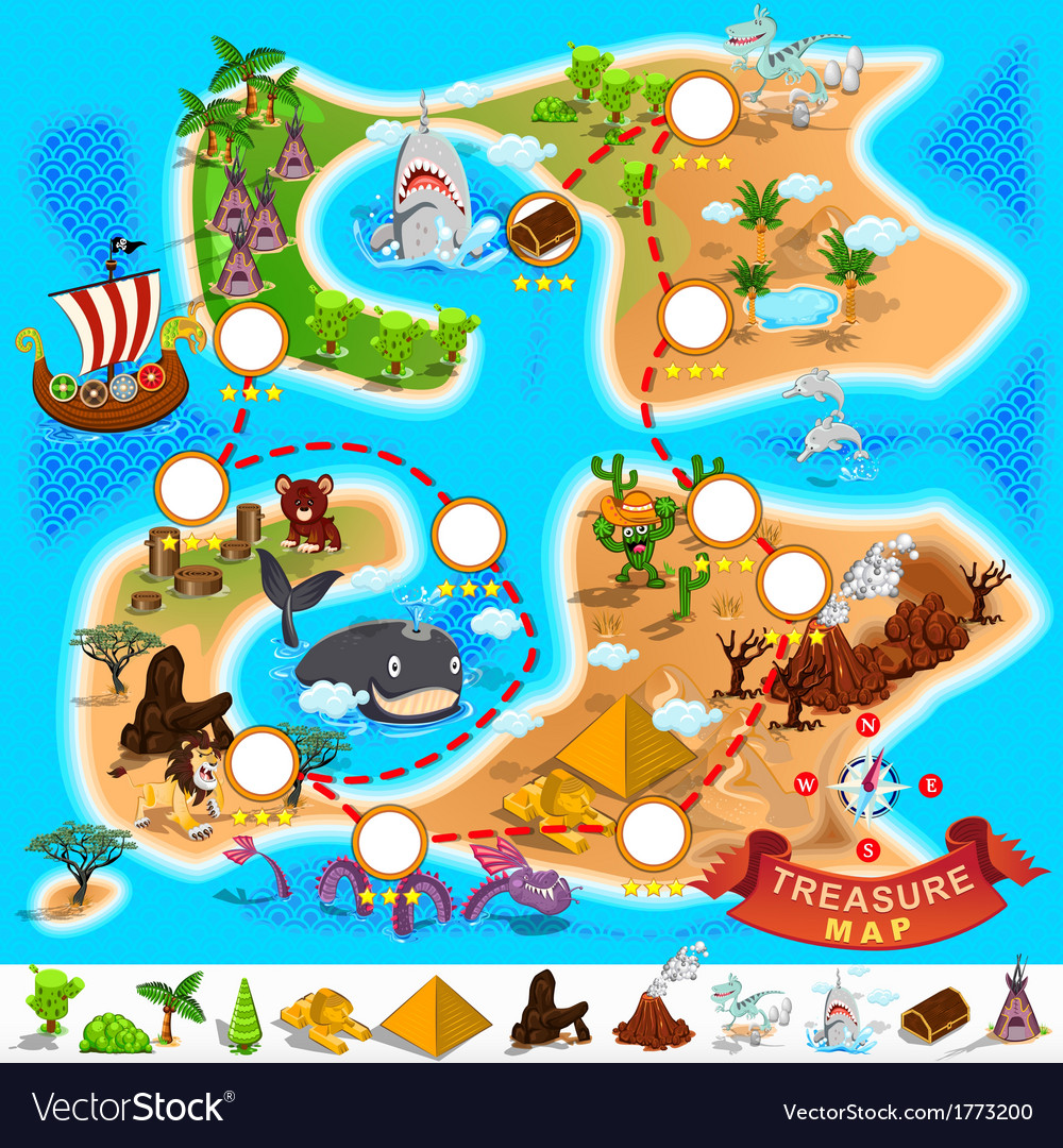 Pirate treasure map vector