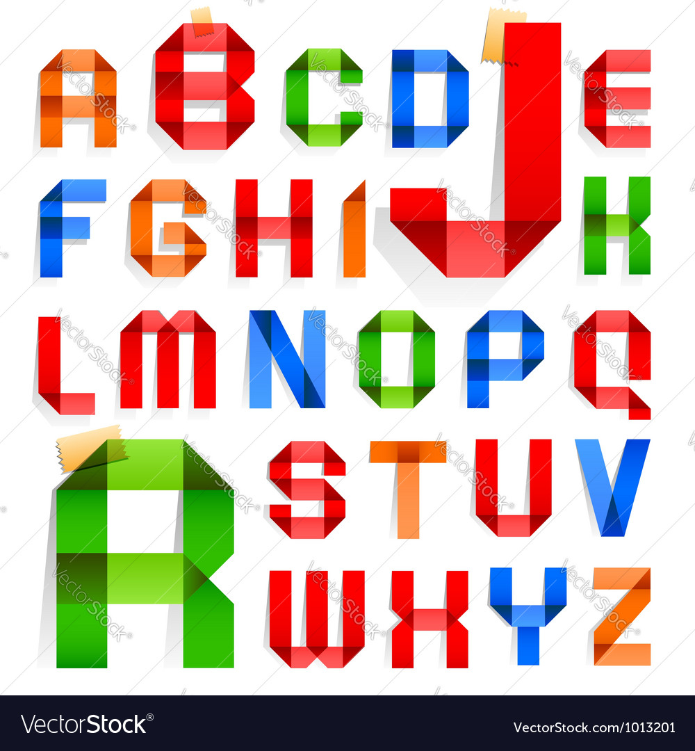 Font folded from colored paper  roman alphabet vector