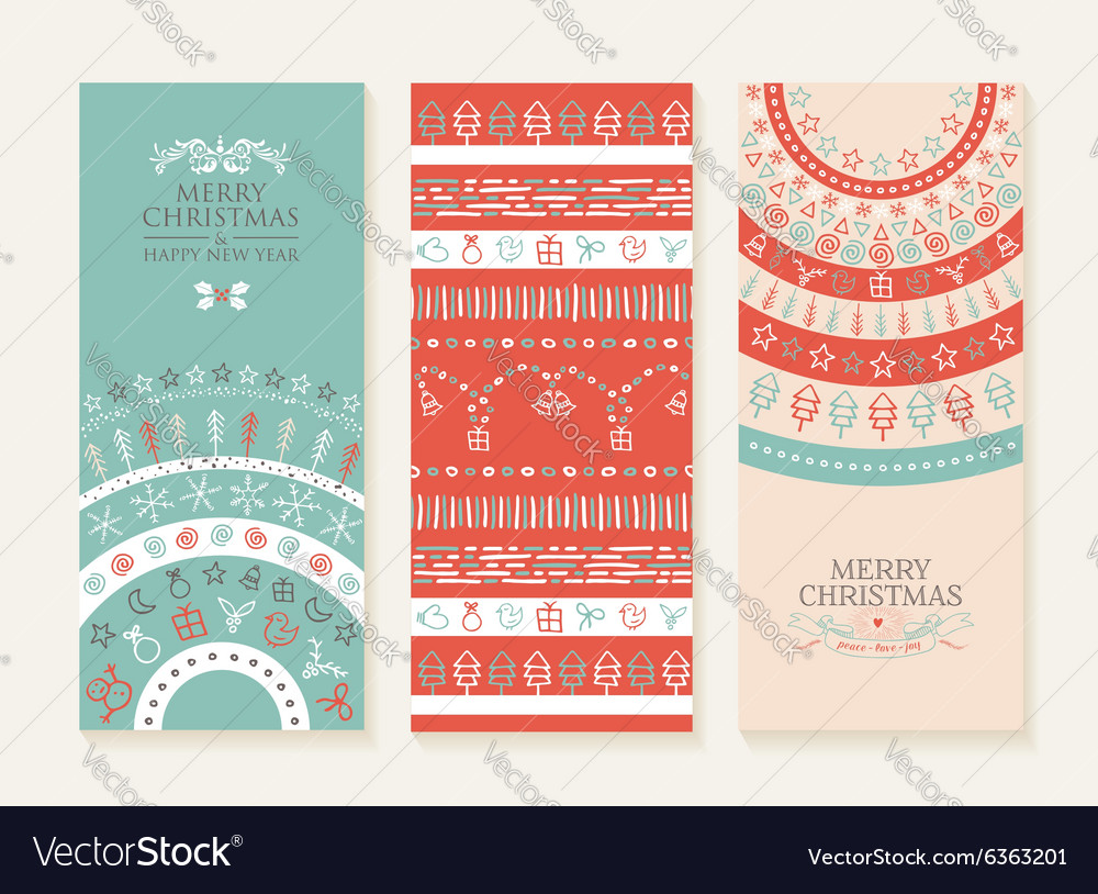 Merry christmas new year holiday doodle banner set vector