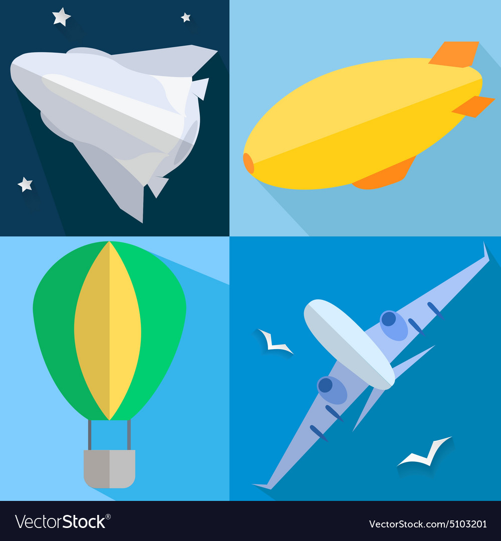 Set airplane airship balloon space shuttle vector