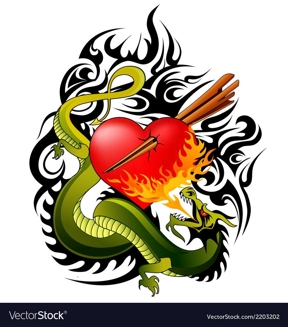 Dragon and heart tattoo vector