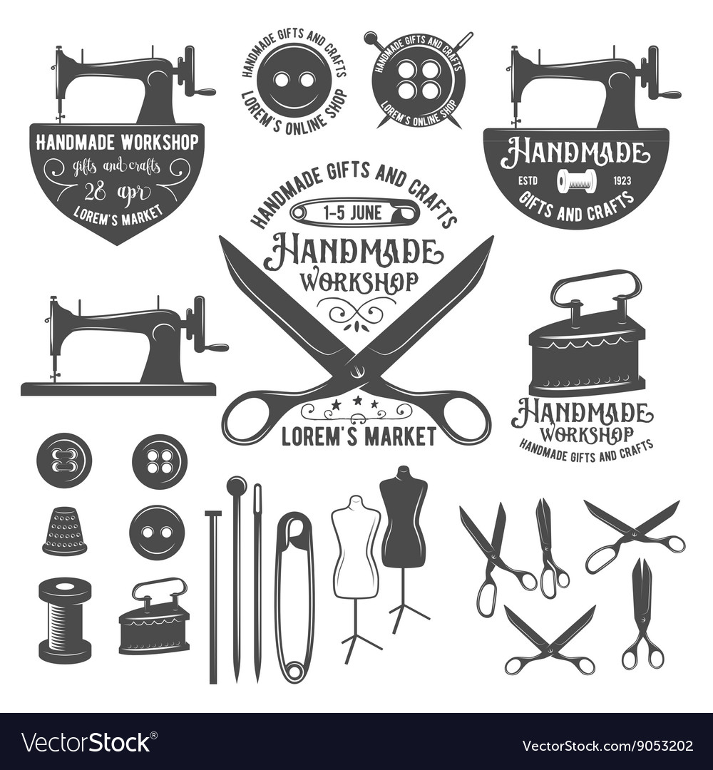 Set of vintage tailor labels badges and design vector
