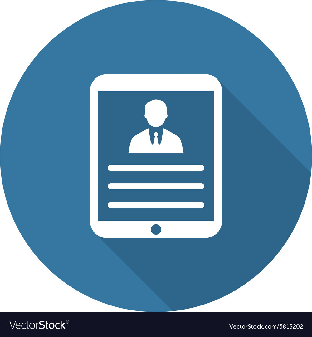 Tablet flat icon user profile vector