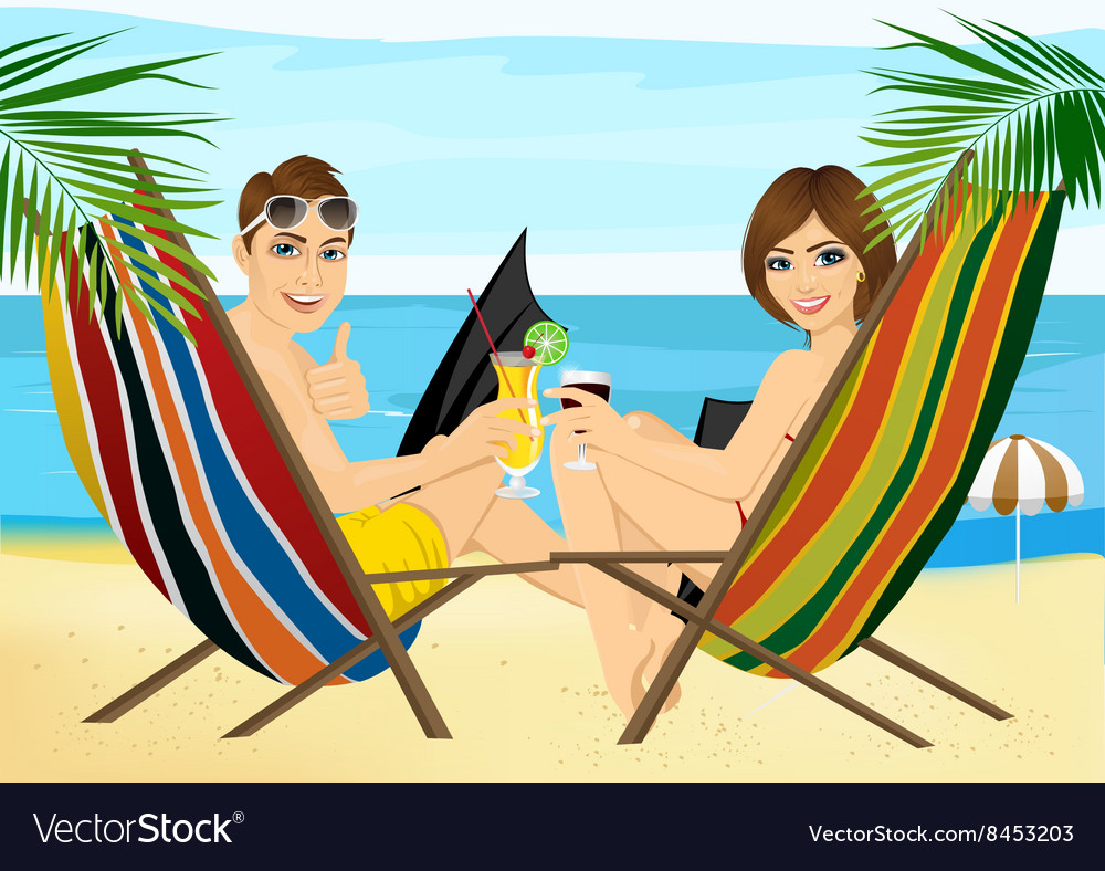 Couple sitting in deckchairs on the beach toasting vector