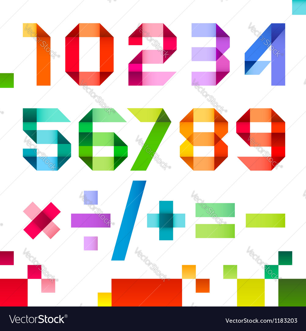 Spectral letters folded of paper ribbon colour  vector