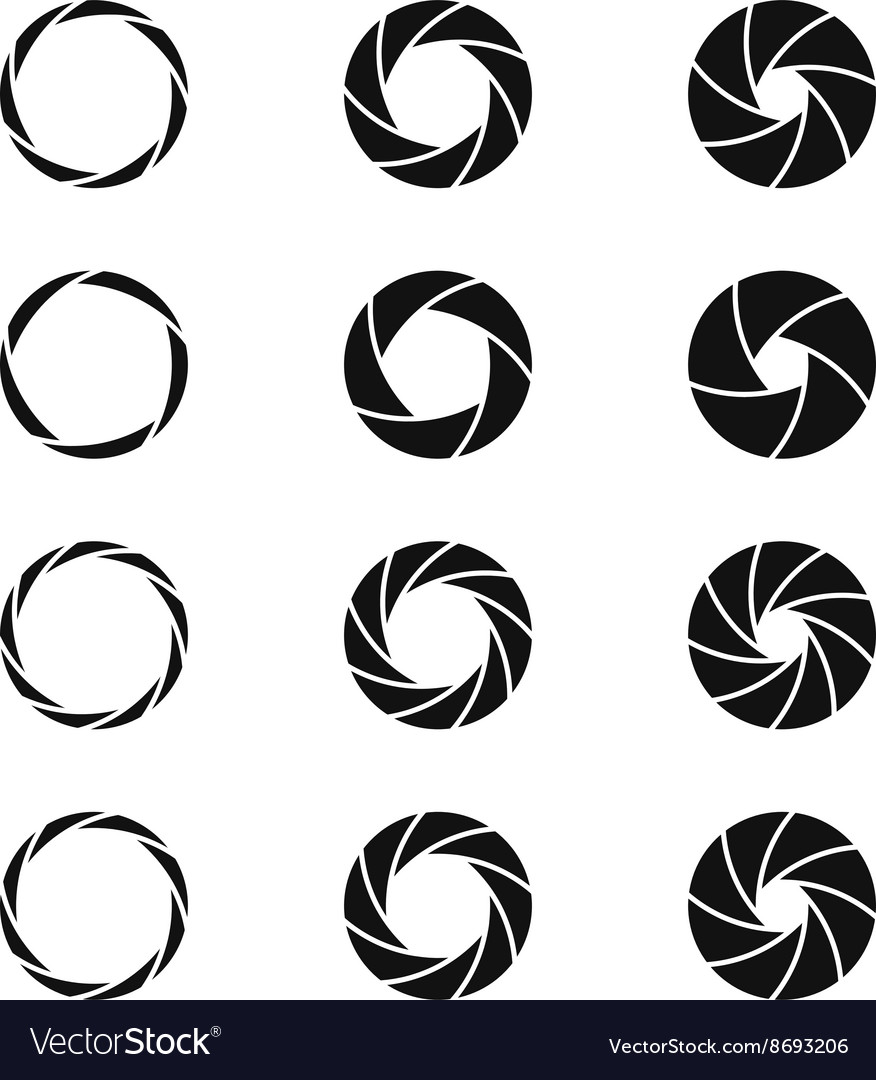 Camera shutter photographer logo icons set vector