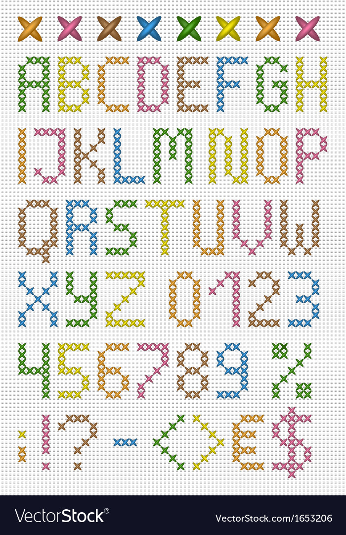 Colorful cross stitch uppercase english alphabet vector