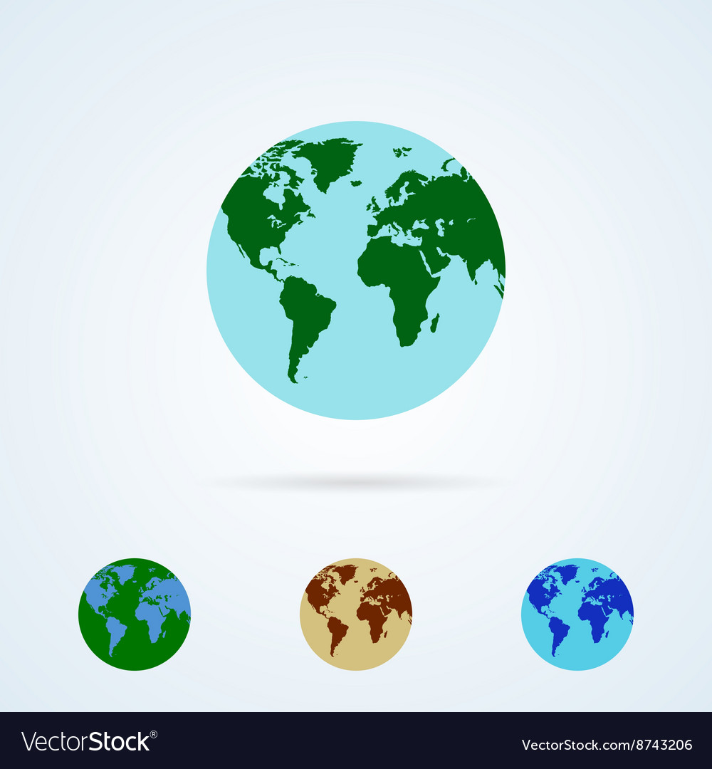 Set from colorful globe icons vector