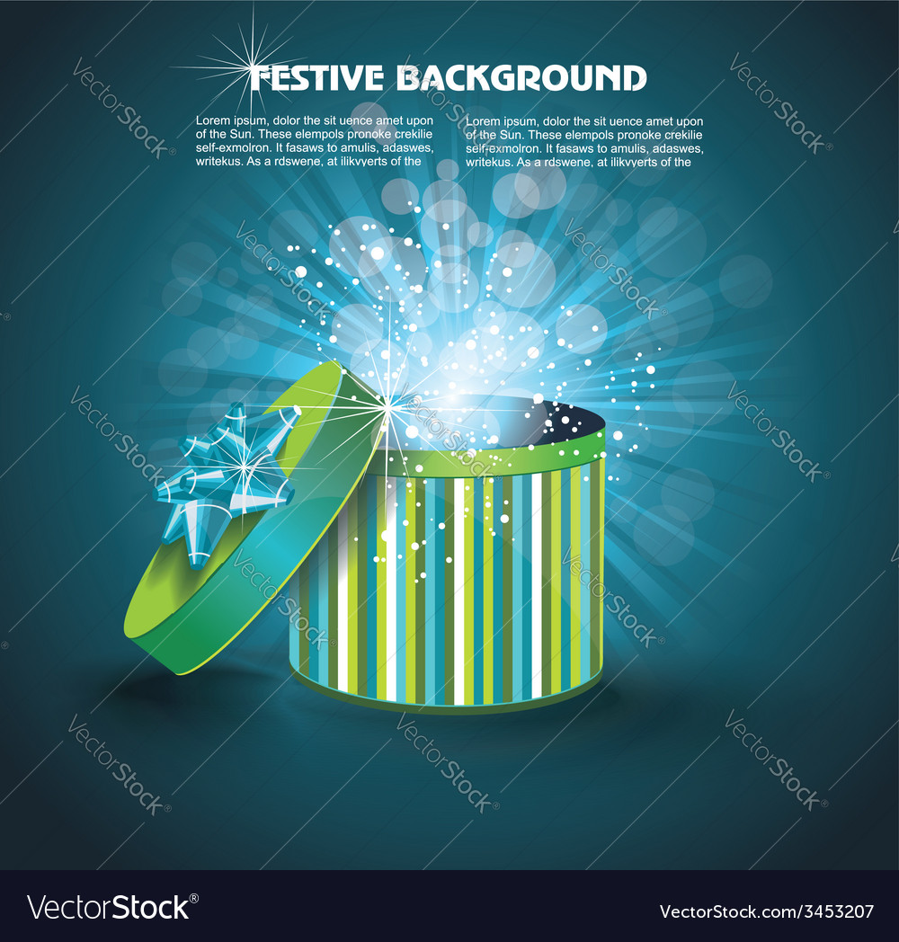 Surprise inside open gift box design template vector