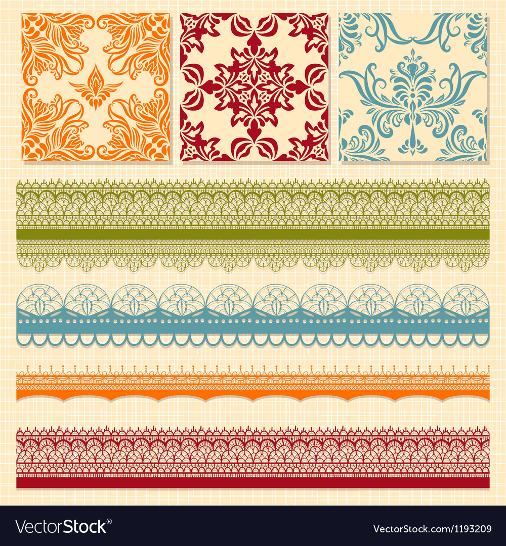 Bright seamless paterns and seamless lacy ribbons vector