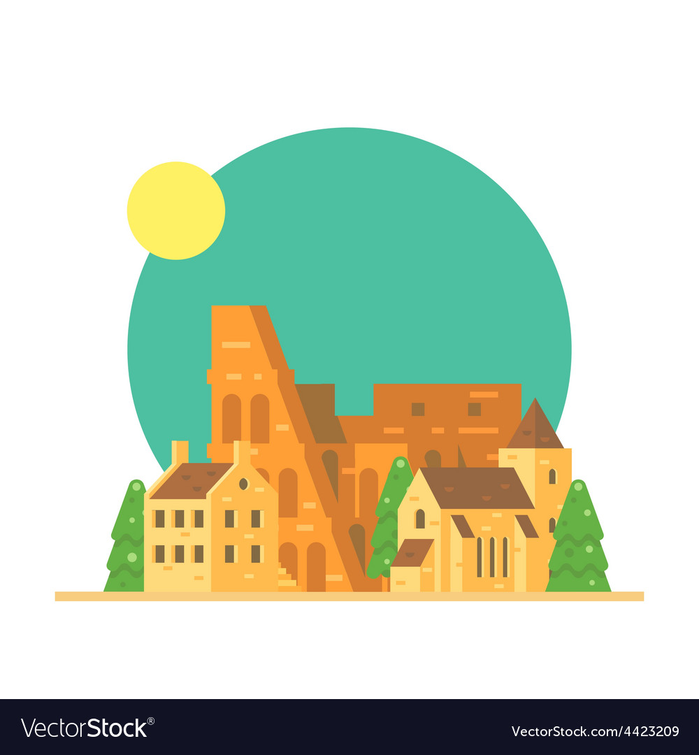 Flat design of colloseum italy with village vector