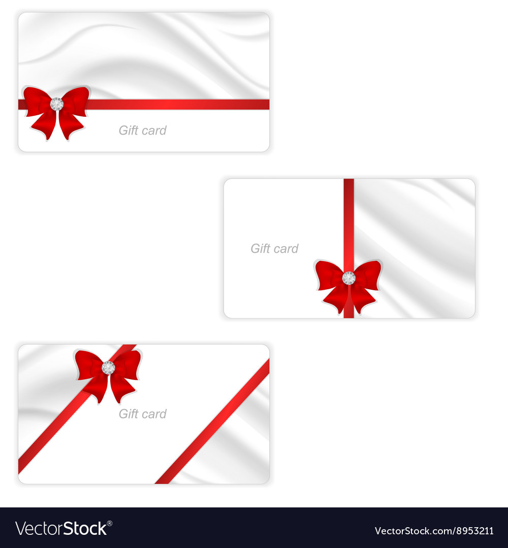 A set of three gift cards with elegant silk vector