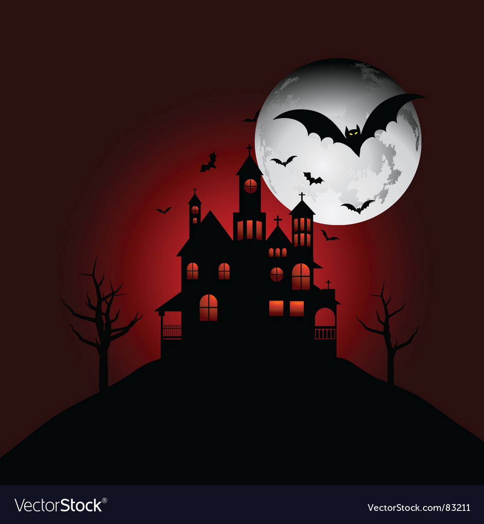 Haunted house on a hill vector