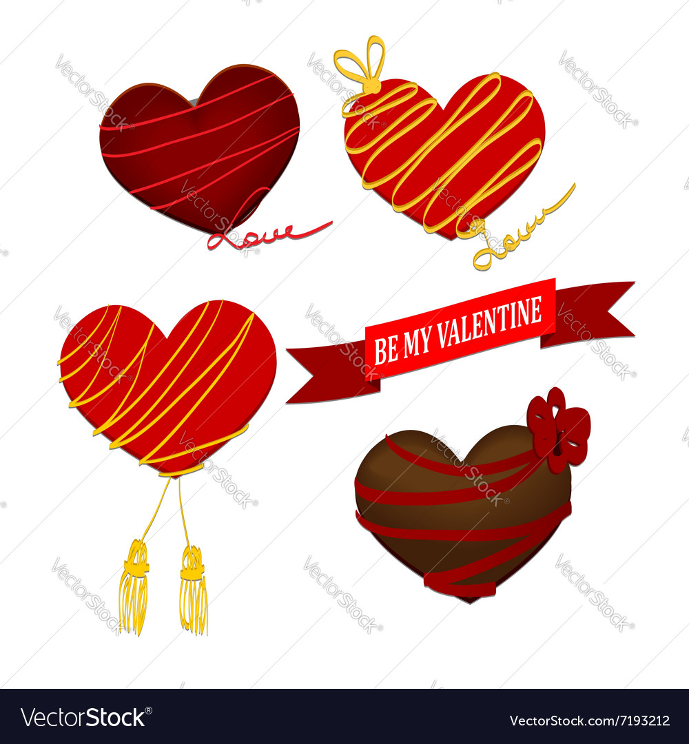 Chocolate heart valentines day with ribbon vector