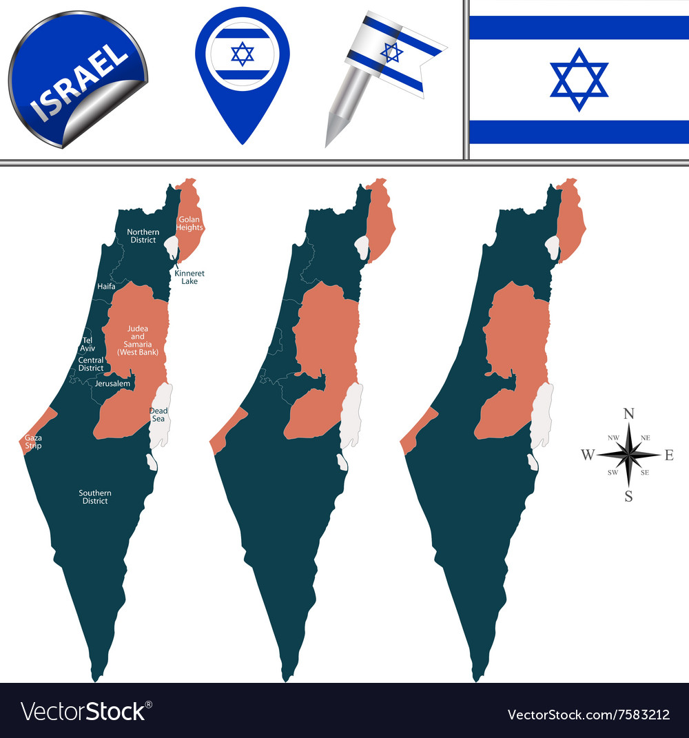 Israel map with named divisions vector