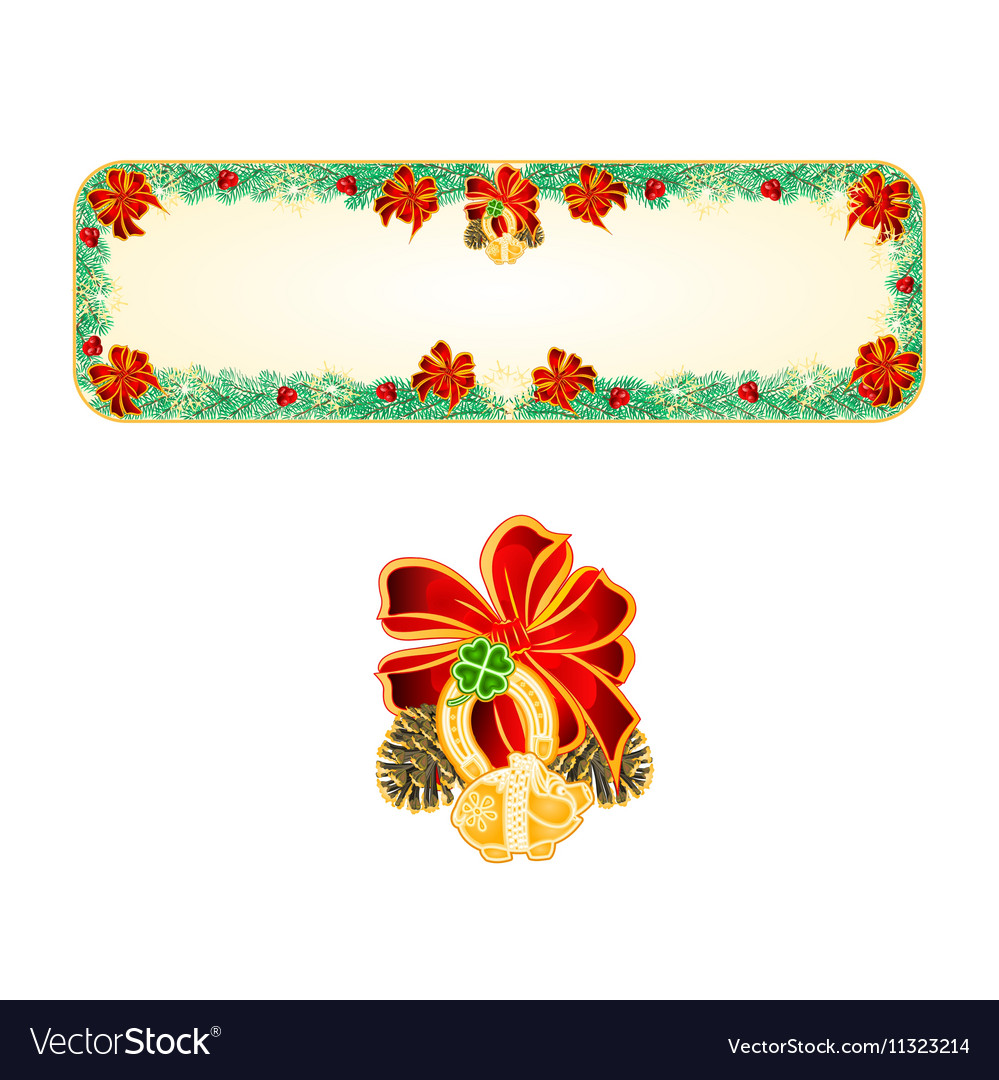 Banner christmas spruce lucky symbols vector
