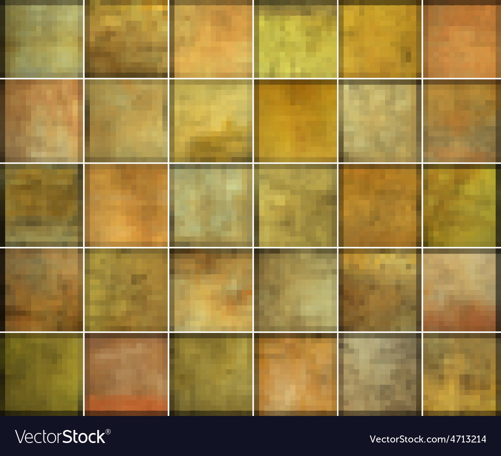 Orange square tile grunge pattern backgrounds coll vector