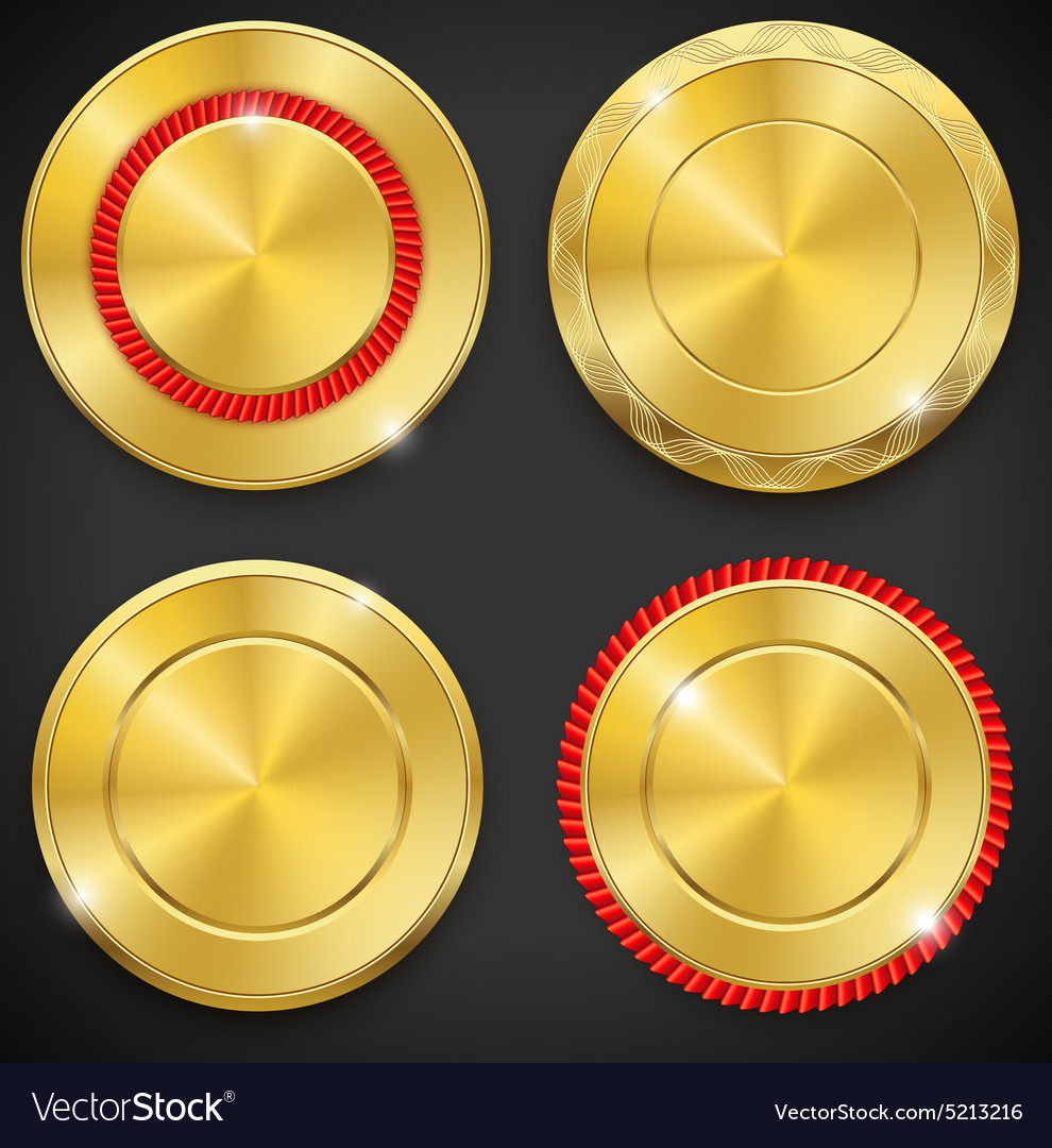 Best golden metal badges set round blanc gold vector