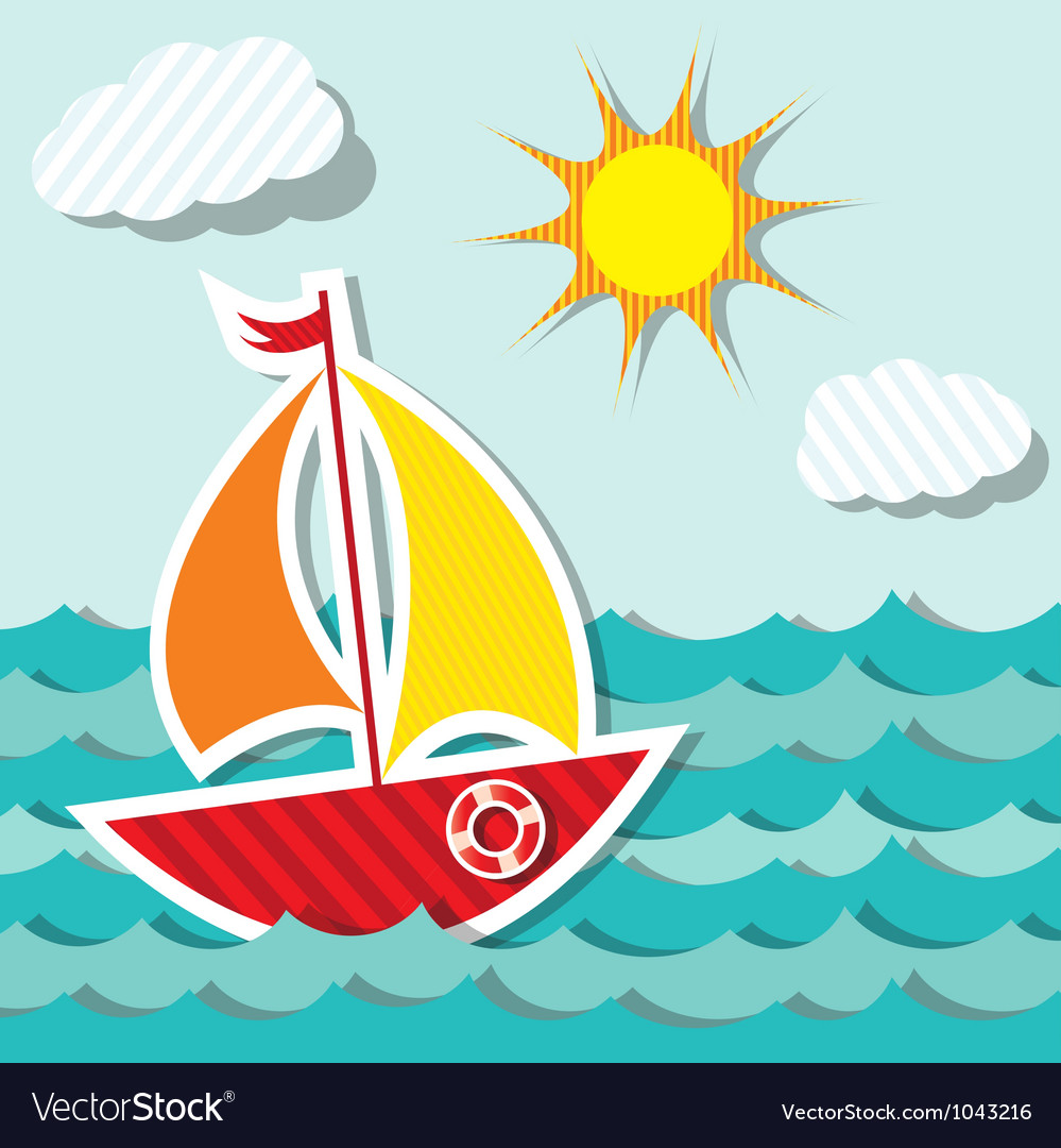 Sailing boat sticker vector