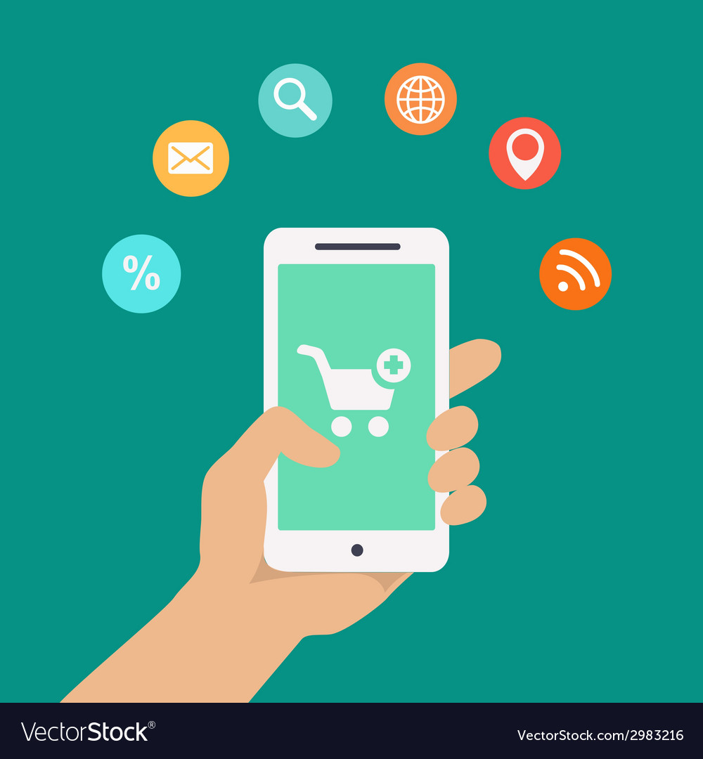 Smartphone apps infographics with a hand holding a vector
