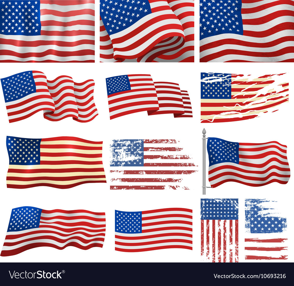 Usa flags set vector