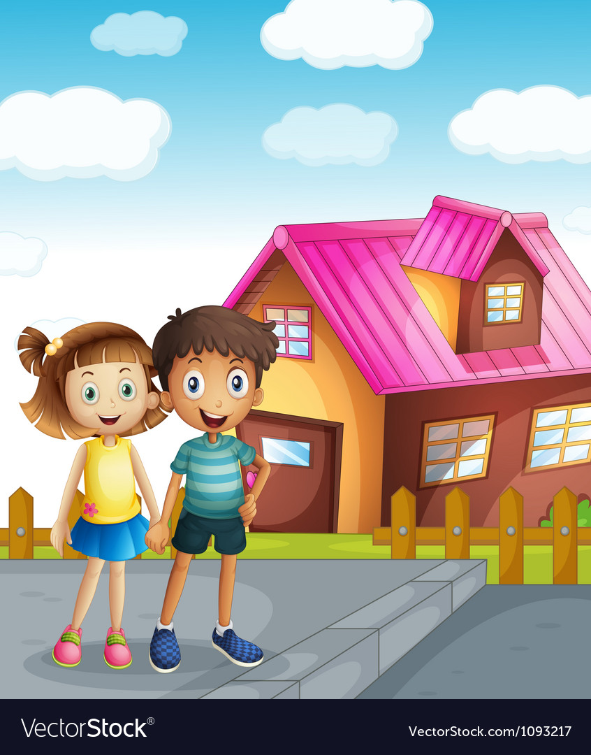 A kids and a house vector