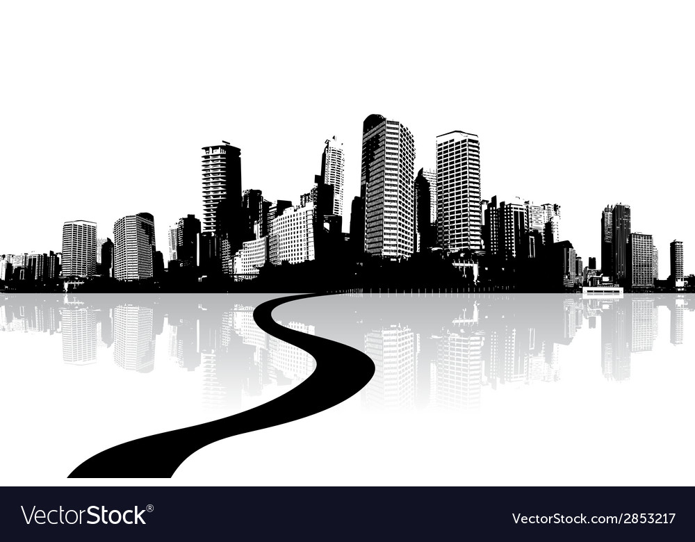 Black and white cityscape with water reflection vector