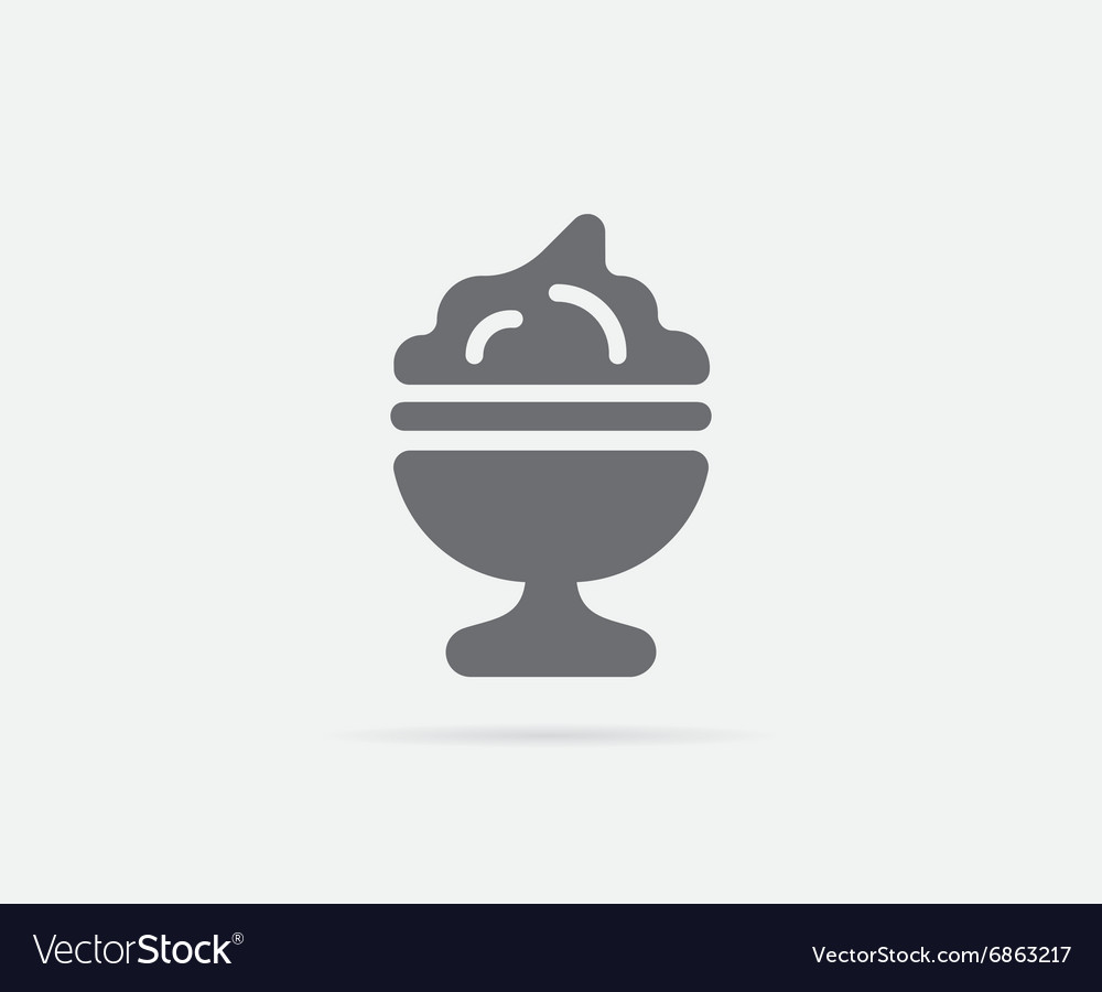 Ice cream dessert dish or cup element or icon vector