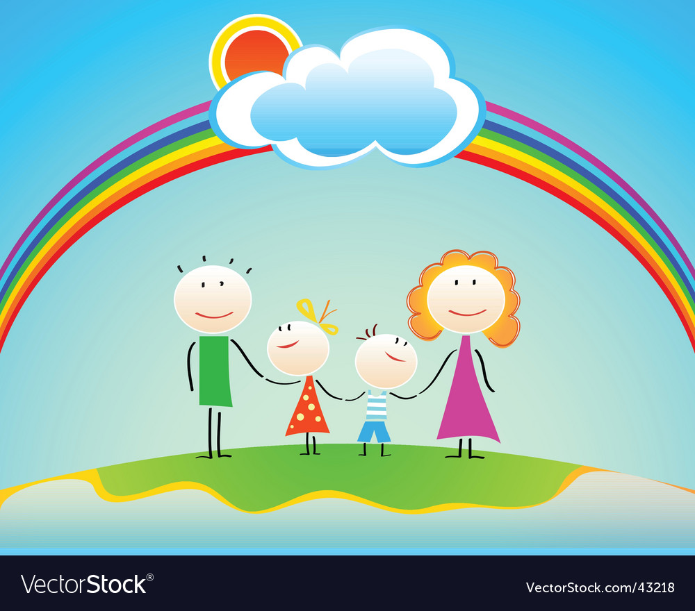 Family under rainbow vector